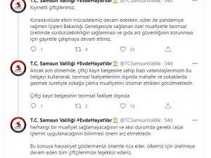 """Samsun Valiliği: """"Çiftçi kayıt belgesine sahip vatandaşlar sokağa çıkma muafiyetini istismar ediyor"""""""