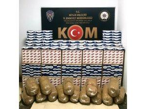 Bitlis'te kaçak tütün ve boş makaron ele geçirildi