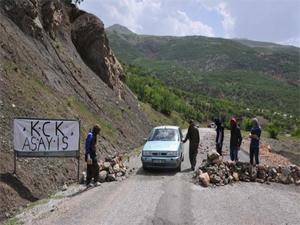 PKK'lılar yol kesti