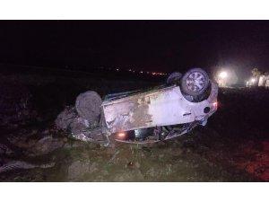 Kontrolden çıkan otomobil tarlaya uçtu: 1 yaralı