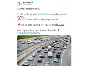 İstanbul'da Mart ayında trafikteki araç sayısı 4 milyon 474 bin 536 çıktı