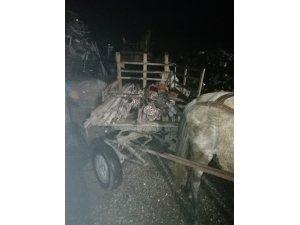 At arabasındaki 13 sıva iskelesi ayağına polis el koydu