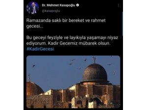 """Bakan Kasapoğlu'ndan """"Kadir Gecesi"""" paylaşımı"""