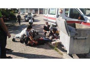 Direksiyon hakimiyetini kaybeden kurye yaralandı
