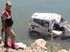 Sivas'ta hafif ticari araç gölete düştü