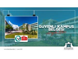 """Konya'da """"Güvenli Kampüs Belgesi'ni alan ilk üniversite 'KTO Karatay'"""