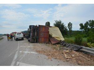 Sinop'ta kereste yüklü tır devrildi: 1 yaralı