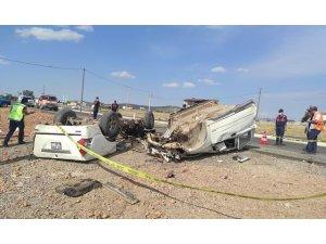 Konya'da kamyonet takla attı: 1 ölü, 1 yaralı