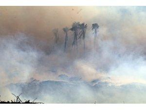 Antalya'daki moloz yangınında gökyüzü bulutla kaplandı, güneş kızıla döndü