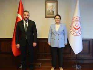 """Başkan Çetin: """"'Aile ve Sosyal Hizmetler Bakanımız Derya Yanık'a ilçemizle ilgili konuları arz ettik"""""""