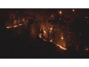Kayseri'deki yangında alevler geceyi aydınlattı