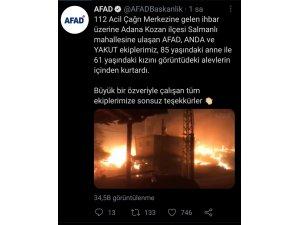 Anne ve kızı orman yangınından AFAD ekibi kurtardı