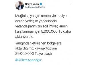 """Bakan Yanık: """"Muğla'da yangın sebebiyle tahliye edilen yerleşim yerlerindeki vatandaşlarımızın acil ihtiyaçlarının karşılanması için 5 milyon lira daha aktarıyoruz"""""""
