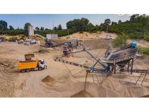 Ünye'deki beton konkasör şantiyesi üretime başladı