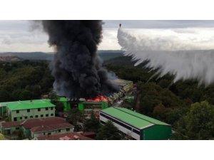 Şile'de alevlere teslim olan fabrika havadan görüntülendi