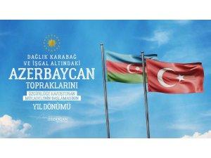 """Cumhurbaşkanı Erdoğan: """"Azerbaycan topraklarını özgürlüğüne kavuşturan şanlı mücadelenin yıl dönümü Anım Günü'nde tüm şehitlerimizi rahmetle yad ediyorum"""""""