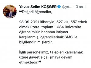 """İzmir Valisi Köşger: """"Bin 84 üniversite öğrencisinin barınma ihtiyacı karşılandı"""""""