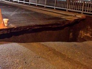 İstanbul'da lodos köprüde göçük yarattı