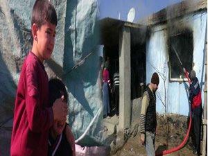 Evleri yanan çocuklar gözyaşlarına boğuldu