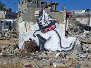 Banksy Gazze için çizdi