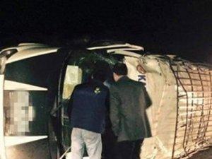 Erzurum'da minibüs devrilmesi: 15 yaralı