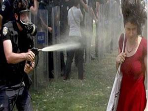 Kırmızılı kadına gaz sıkan polise fidan cezası