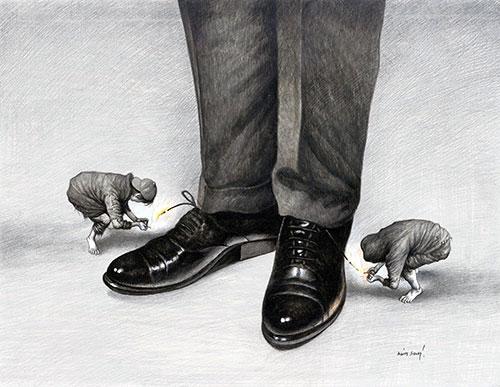 Karikatür yarışmasının birincisi Agim Sulaj