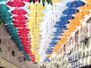 Güneşe karşı rengarenk şemsiyeler!