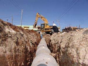 Kavak'ta kanalizasyon tesisi yapım çalışmaları