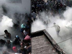 Yunan polisi, göçmenlere yangın söndürücü ve coplarla saldırdı