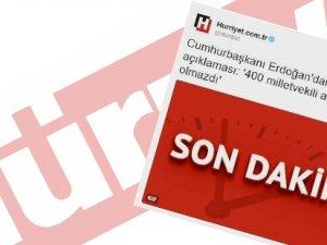 Hürriyet'in Erdoğan tweet'ine soruşturma