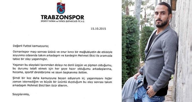 Erkan Zengin, Ekici'den özür diledi