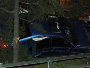 Ağaca çarpan otomobil ikiye ayrıldı