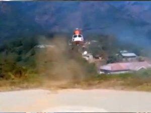 Helikopter iniş sırasında kaza yaptı