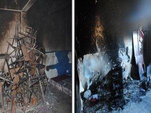 Teröristler karargah yaptığı okulu kaçarken yaktı