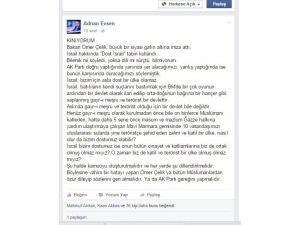 Adnan Evsen: AK Parti Sözcüsü Ömer Çelik büyük bir gafın altına imza attı