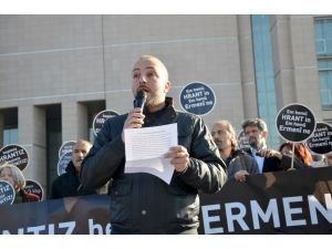 Dink davası öncesi adliye önünde eylem
