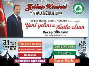 Edirne Belediyesi'nden Yılbaşı Konseri