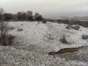 Lapseki'de Yüksek Kesimlere Kar Yağdı