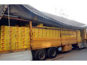 Meyve suyu kutusundan 100 bin kaçak sigara çıktı