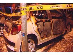 Ankara'da park halindeki otomobil yandı