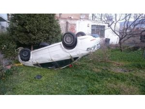 Takla Atan Otomobil Evin Bahçesine Uçtu