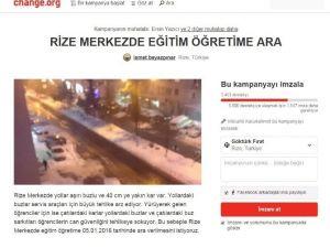 Kar Tatilinden Faydalanamayan Rizeli Öğrenciler İnternet Üzerinden İmza Kampanyası Başlattı
