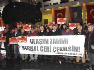 Adana'da Ulaşım Zamları Protesto Edildi