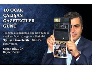 Vali Düzgün'den 10 Ocak Çalışan Gazeteciler Günü Kutlama Mesajı