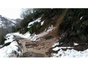 Bozkurt'ta Heyelan Yolu Kapattı