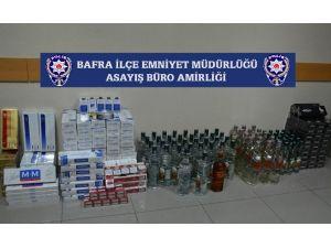 Bafra'da Kaçak Sigara Ve İçki Ele Geçirildi