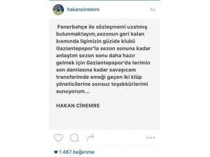 Hakan Çinemre, Gaziantepspor'a Kiralandı