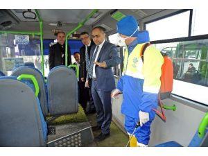 Aydın'da Toplu Taşıma Araçları Gribe Karşı Dezenfekte Ediliyor