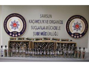 Samsun'da 120 Şişe Gümrük Kaçağı İçki Ele Geçti